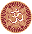 Om - aum - symbol in flower rosette vector