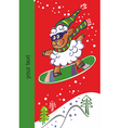 Sheep on a snowboard - new year 2015 vector
