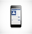 Screen mobile phone with social network app vector