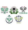 Tennis sport symbols and emblems vector