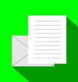 Email icon envelope and paper sheet with text in vector