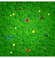 Background with grass flowers and butterflies vector