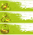 Easter horizontal banners with chicken rabbit vector