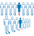 Person stands out line of digital people vector