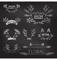 Set of chalk floral design elements vector