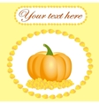 Card for thanksgiving with pumpkin and leaves vector