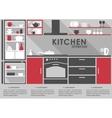 Kitchen interior flat design with long shadows vector