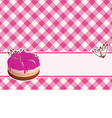 Delicious cake with berry jam on a plaid backgroun vector