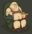 Fat man with a remote control color vector