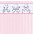 Hand draw butterflies on pink striped background vector