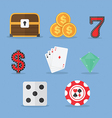 Set of gambling slot machine icons vector