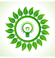 Eco bulb inside the leaf background vector