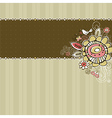 Hand draw flowers on beige striped background vector