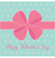 Big pink gift bow and ribbon happy valentines day vector