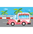A pink ice cream bus vector