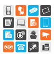Silhouette contact and communication icons vector