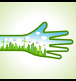 Ecology concept - eco cityscape with hand vector