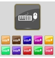 Computer keyboard and mouse icon set colourful vector