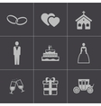 Black wedding icons set vector