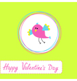 Happy valentines day card with cute bird vector