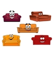 Colorful cartoon sofas and couches vector