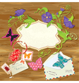 Wooden background with butterflies beetle flower vector