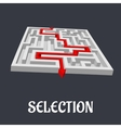 Labyrinth with the word selection below vector
