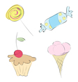 Images in a variety of sweets set candy mini-cake vector