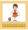 Happy girl with cute dog vector