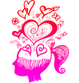 Woman head full of love thoughts vector