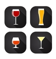 Modern flat dink glass icon set for web and mobile vector