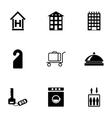 Black hotel icons set vector