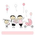 Happy birthday parents with children newborn baby vector