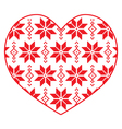 Nordic winter red and white heart pattern vector