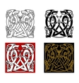 Ancient celtic ornament with wild animals vector