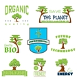 Ecology 100 percent natural stickers logos vector