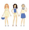 Three girls vector