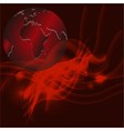 Red abstract background with globe vector
