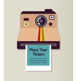 Old vintage polaroid camera with picture vector