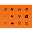 Radio tower icons on orange background vector