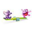A pink and a violet monster playing vector