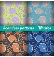 Whales set of abstract seamless pattern template vector