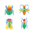 Four abstract colored insects vector