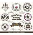 Set of vintage retro bakery labels vector