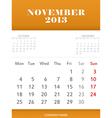 November 2013 calendar design vector