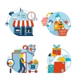 Shopping icons of a store shopping and delivery vector
