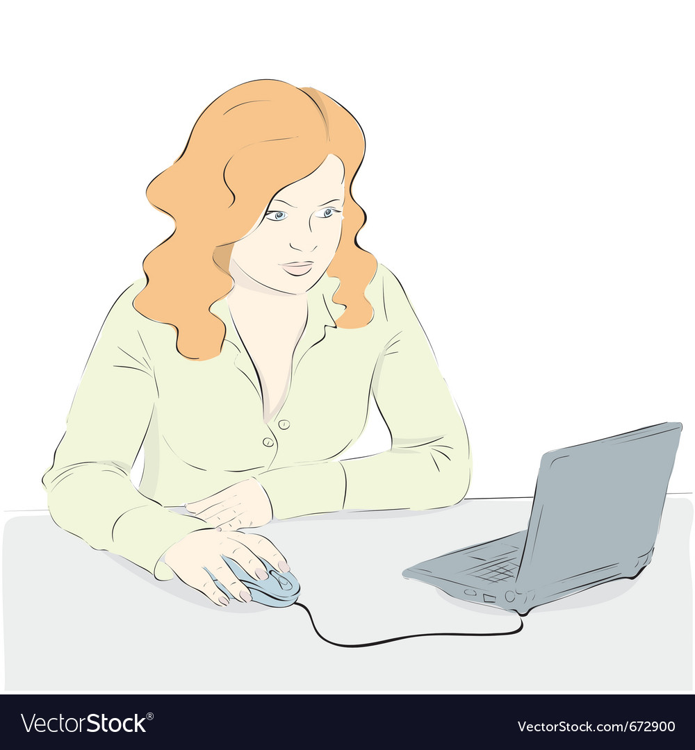 A young woman uses a laptop vector | Price: 1 Credit (USD $1)