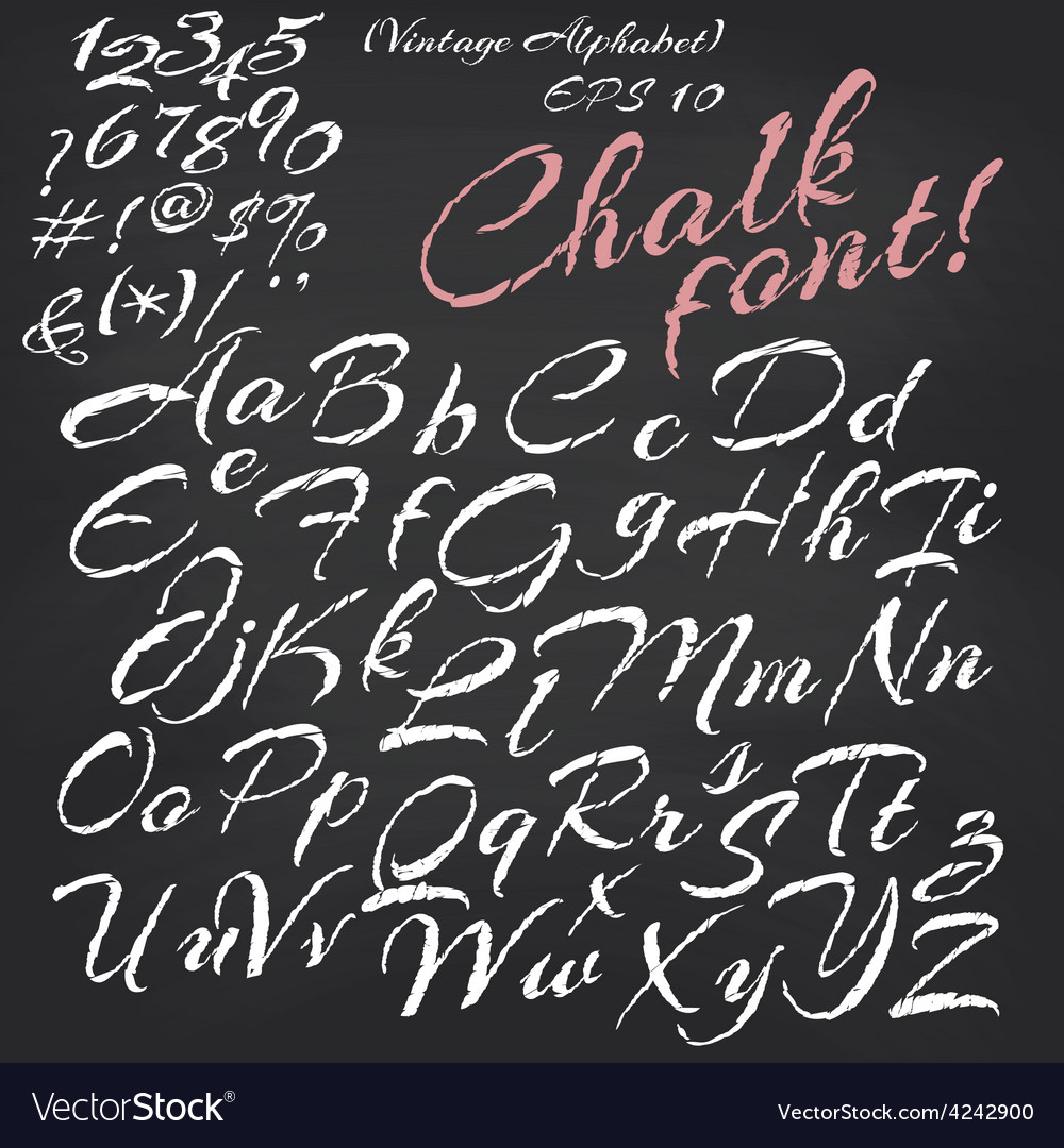 Alphabet chalk font on blackboard vector