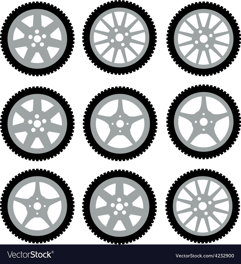 Automotive wheel with alloy wheels vector | Price: 1 Credit (USD $1)