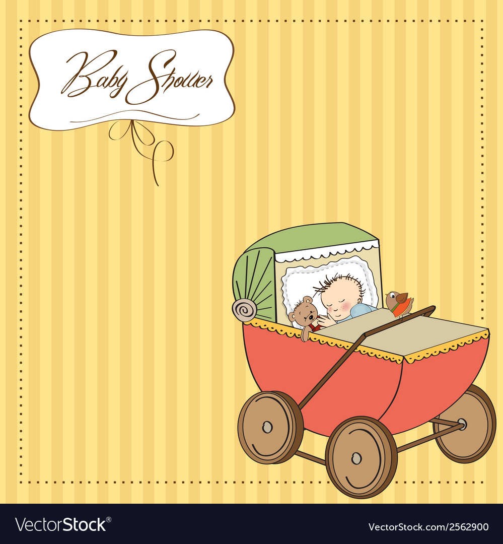 Baby boy shower card with retro strolller vector | Price: 1 Credit (USD $1)